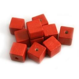 Cuenta DQ 10mm houten kraal vierkant rood
