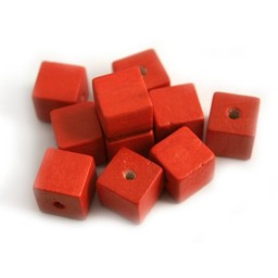 Cuenta DQ 10x10mm square red wooden bead
