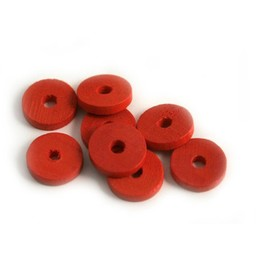 Cuenta DQ 10x2mm wooden bead slice red