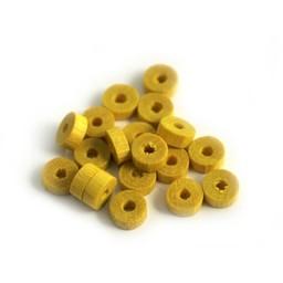 Cuenta DQ 5x2mm houten kraal schijf geel