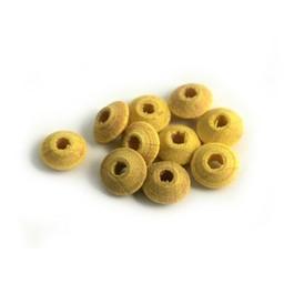 Cuenta DQ 6x3mm houten kraal linzen geel