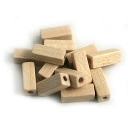 Cuenta DQ 4x4x10mm houten kraal staafje blank