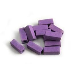 Cuenta DQ 4x4x10mm wooden bead stick purple