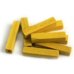 Cuenta DQ 4x4x20mm houten kraal staafje geel