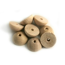 Cuenta DQ 12x6mm houten kraal half rond blank