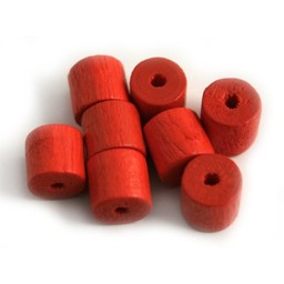 Cuenta DQ 8x8mm red wooden bead tons