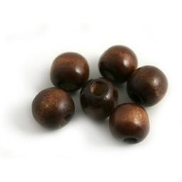 Cuenta DQ 10mm dark brown wooden bead bulb