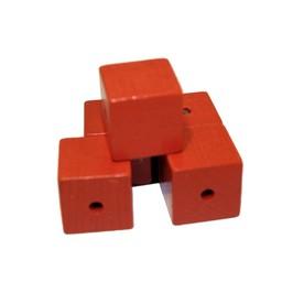 Cuenta DQ 19mm wooden bead square orange