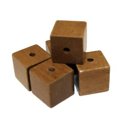 Cuenta DQ 19mm wooden bead square brown