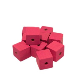 Cuenta DQ 10x10mm wooden bead pink square