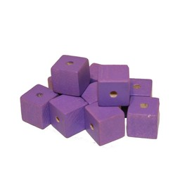 Cuenta DQ 10x10mm wooden bead square purple