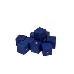 Cuenta DQ 10mm houten kraal vierkant blauw