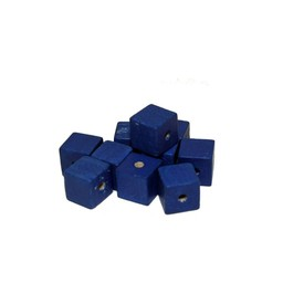 Cuenta DQ 10x10mm square blue wooden bead