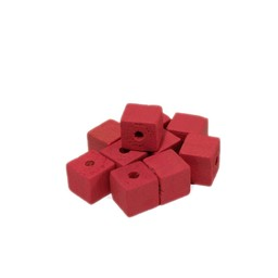 Cuenta DQ 8x8mm Wooden bead square pink
