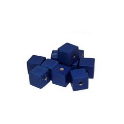 Cuenta DQ 6x6mm houten kraal vierkant blauw