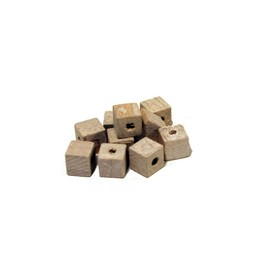 Cuenta DQ 6x6mm square white wooden bead