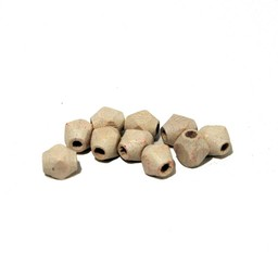 Cuenta DQ Wooden bead 6x5mm faceted white