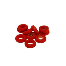 Cuenta DQ 10x3mm wooden bead ring around red