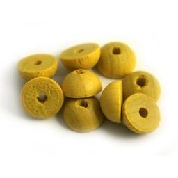 Cuenta DQ 12x6mm wooden bead half round yellow