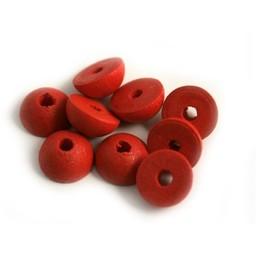 Cuenta DQ 12x6mm houten kraal half rond rood