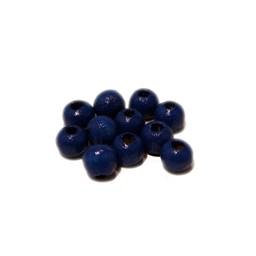 Cuenta DQ 5mm houten kraal blauw rond