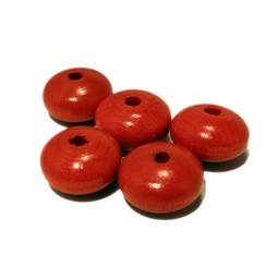 Cuenta DQ 20x12mm wooden bead orange disc