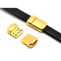 Cuenta DQ magnetic closure 2-piece gold 6mm round corners