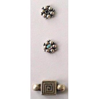 jolie 3D-Abstandshalter Doppelreihe von kleinen Perlen 8mm Silber pro Stuck