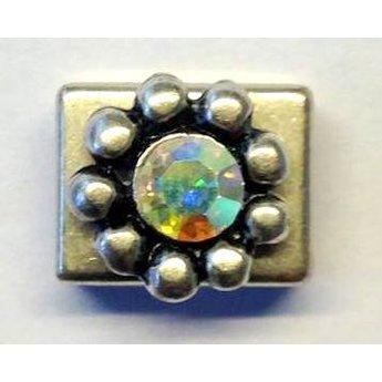 jolie 3D Spacer dubbele rij bolletjes klein 9mm zilverkleur per stuk