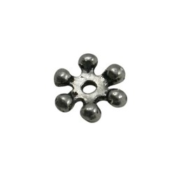 Cuenta DQ bali flower ring spacer 8mm silver platin