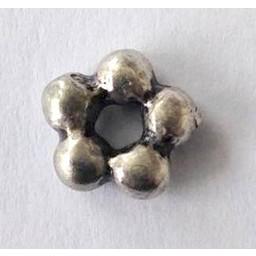 jolie 3D Spacer dubbele rij bolletjes klein 7mm zilverkleur per stuk