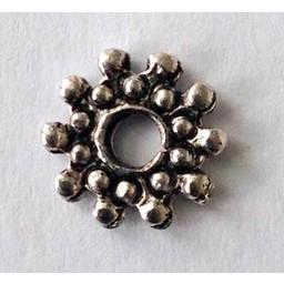 jolie 3D Spacer dubbele rij bolletjes mini 8mm zilverkleur per stuk