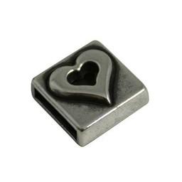 jolie slider bead square heart 10mm silver plating
