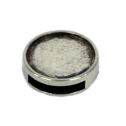 Cuenta DQ Metallic leather inlay 16mm slide open around 13mm silver