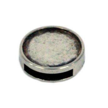 Cuenta DQ Metaal leerschuiver open inleg 16mm rond zilverkleur 13mm