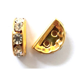 Cuenta DQ Strass Rondel hemisphere 7x12mm 2-hole gold color
