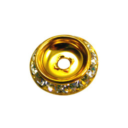 Preciosa crystals rhinestone roundel 20 mm flat back gold colored