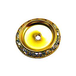Preciosa crystals Strass rund 25 mm flacher Rücken goldfarben