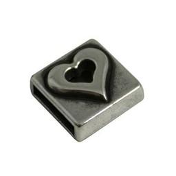 jolie Metaal leerschuiver vierkant hartje 10mm zilverkleur