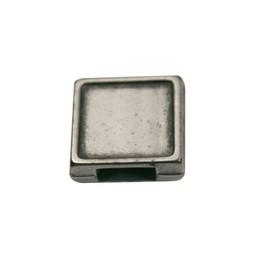 Cuenta DQ Metaal leerschuiver 6mm vierkant open zilverkleur