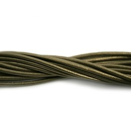 Cuenta DQ lederband  2mm old gold 1 meter .