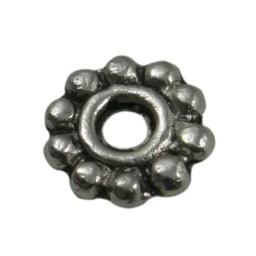 Cuenta DQ bali ring spacer Blume 6mm hellplatin