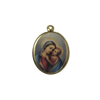 Cuenta DQ jewelry pendant medallion depicting oval 21mm gold color