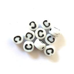 Cuenta DQ C. Letter alfabet kraal glas wit met zwarte opdruk 5x6mm