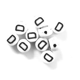 Cuenta DQ D. Letter alfabet kraal glas wit met zwarte opdruk 5x6mm