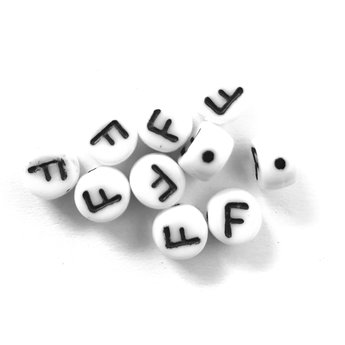 Cuenta DQ F. Letter alphabet bead glass white with black print 5x6mm