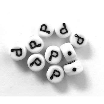Cuenta DQ P. Letter alphabet bead glass white with black print 5x6mm
