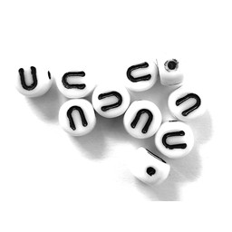 Cuenta DQ U. Letter alphabet bead glass white with black print 5x6mm