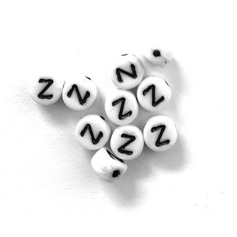 Cuenta DQ Z. Letter kraal glas wit met zwarte opdruk 5x6mm