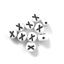 Cuenta DQ X. Letter alfabet kraal glas wit met zwarte opdruk 5x6mm
